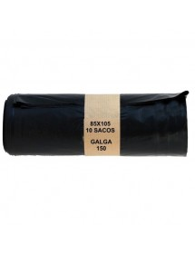 SACO BASURA 85X105 10 UDS NEGRO G/150 FAJA 100L *REFORZADO*