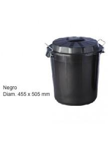 CONTENEDOR NEGRO  50 LITROS CON TAPA 455X505MM
