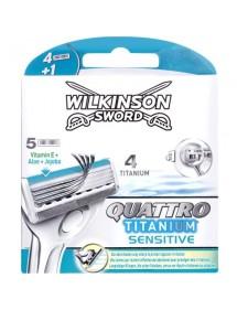 WILKINSON QUATTRO TITANIUM CARGADOR 5 UDS SENSIBLE