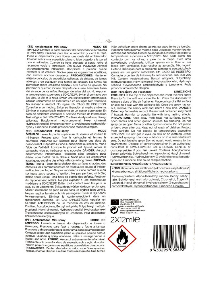 MAYORDOMO AMBIENTADOR MINI SPRAY 1 AP.+2 RECAMBIOS SPA