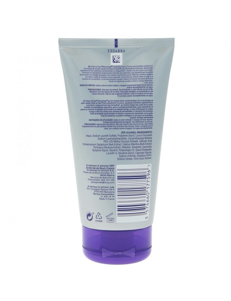 CLEAN&CLEAR GEL LIMPIADOR DIARIO ANTI-ESPINILLA 150ML