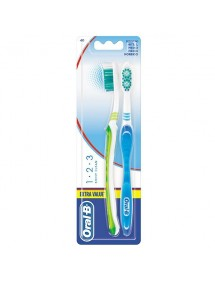 ORAL B CEPILLO DENTAL SHINY CLEAN 1-2-3 PACK 2 UDS.