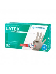 GUANTES LATEX C/POLVO 100 UD GRANDE DESECHABLES