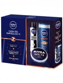 NIVEA FOR MEN CREMA 150ML + GEL CLEAN 250 + DEO 200ML SPRAY